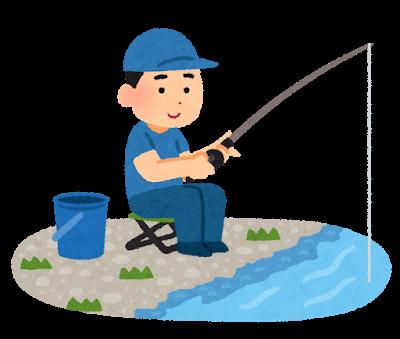川で釣りをしているイラスト