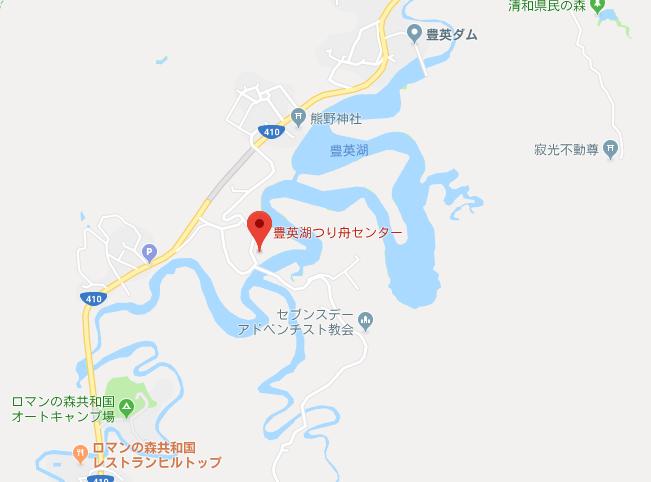 豊英ダムの地図