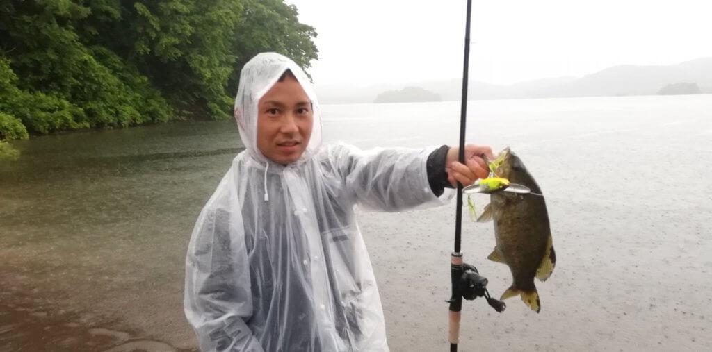 さっそく松井が釣りました