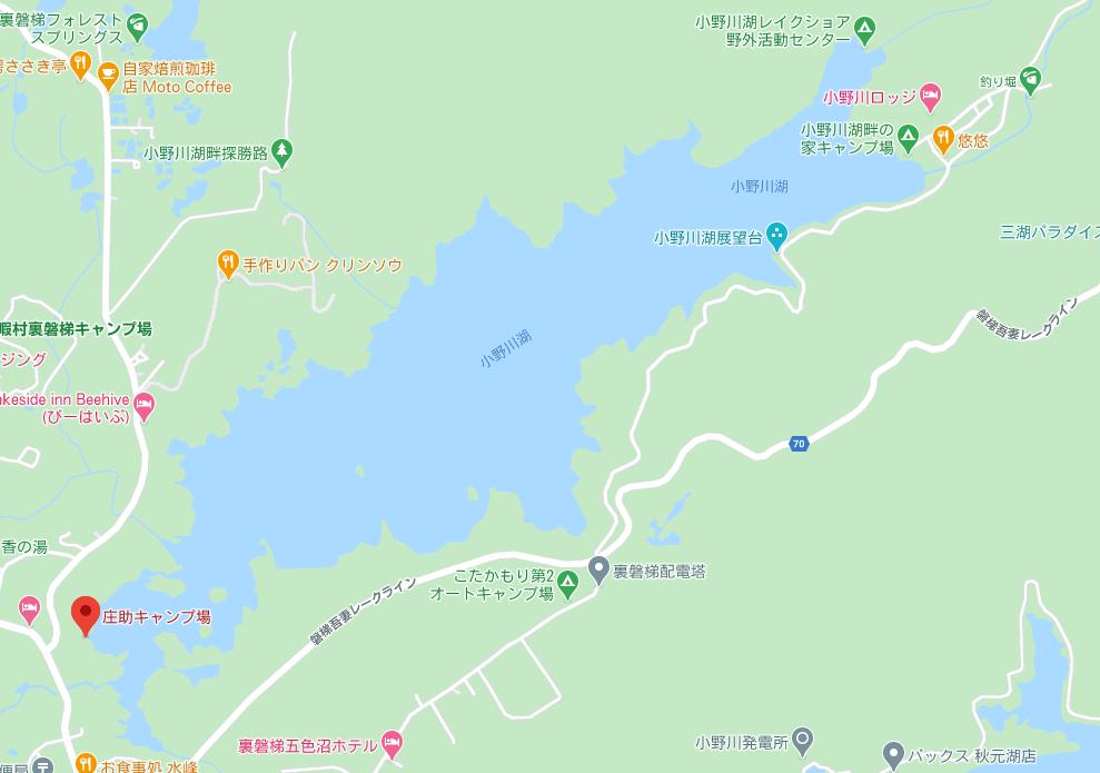 小野川湖のレンタルボート庄助キャンプ場