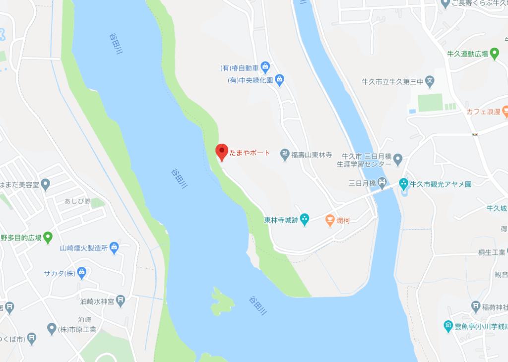 たまやボートの地図
