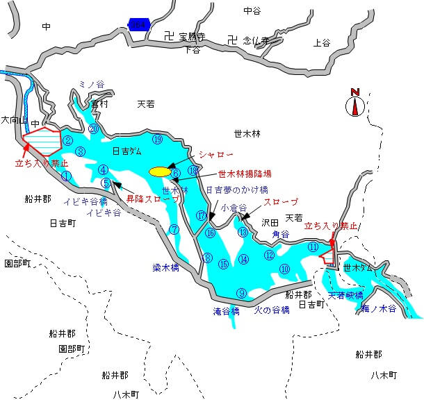 日吉ダムのポイントマップ