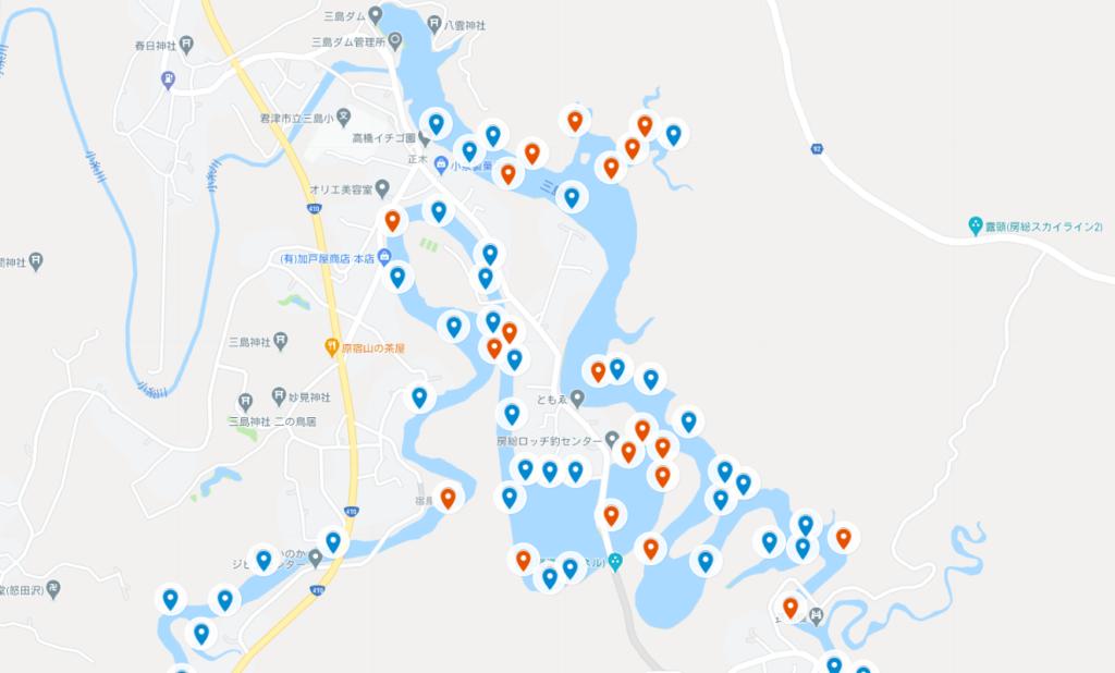三島湖バス釣りポイントマップ